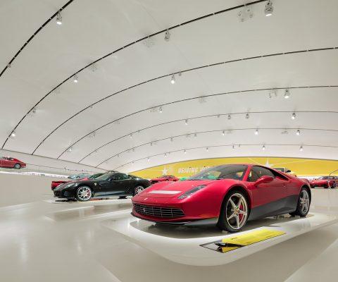 modern ferrari cars in museum