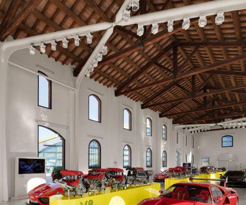 historical ferrari race cars in museum